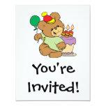 oso de peluche del feliz cumpleaños con la torta y invitación 10,8 x 13,9 cm