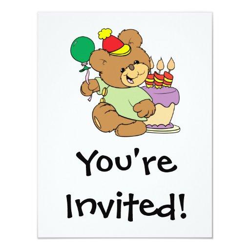"""oso de peluche del feliz cumpleaños con la torta y invitación 4.25"""" x 5.5"""""""