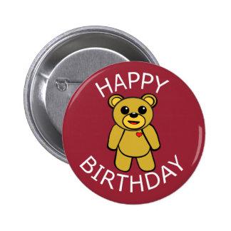 Oso de peluche del feliz cumpleaños pin redondo de 2 pulgadas