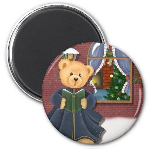 Oso de peluche del invierno de Caroling del navida Imán Redondo 5 Cm