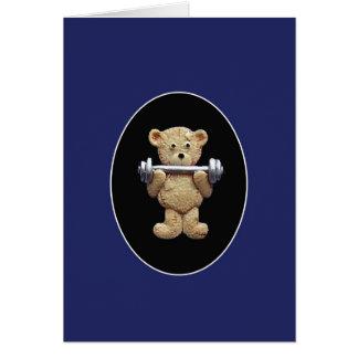 Oso de peluche del levantamiento de pesas tarjeta de felicitación
