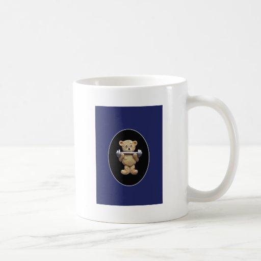 Oso de peluche del levantamiento de pesas taza de café