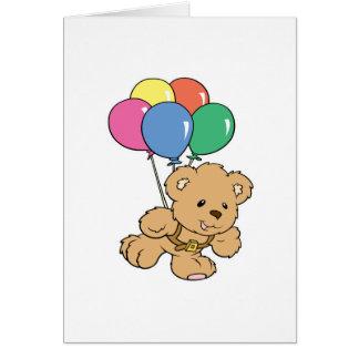 Oso de peluche del manojo del globo del cumpleaños tarjeton