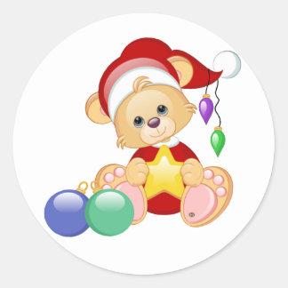 Oso de peluche del navidad con la estrella pegatinas redondas