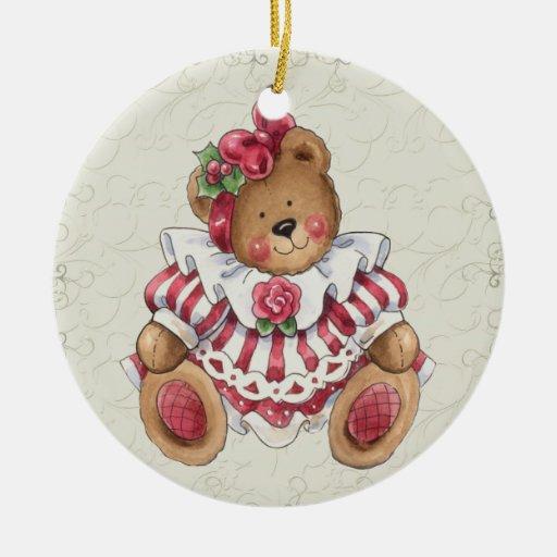 Oso de peluche del navidad adorno redondo de cerámica