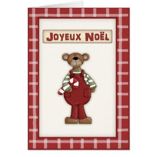 Oso de peluche del navidad del país en lengua fran felicitaciones