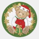 Oso de peluche del navidad - muchacho etiqueta redonda