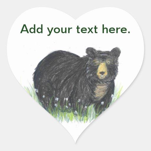 Oso de peluche del oso negro calcomanías corazones personalizadas