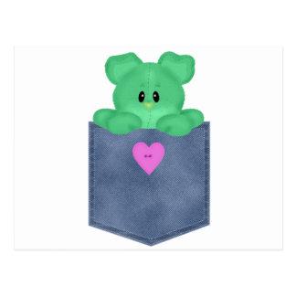 Oso de peluche del verde del bolsillo de Jean Postales