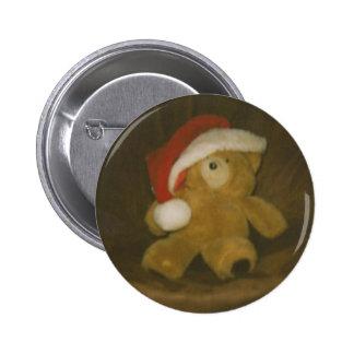 oso de peluche del vintage con el gorra de santa pins