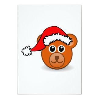 Oso de peluche divertido con el gorra de Papá Noel Invitación 12,7 X 17,8 Cm