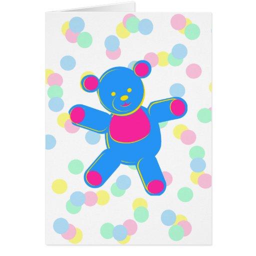 Oso de peluche en colores pastel tarjeta de felicitación