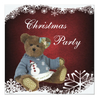 """Oso de peluche en fiesta de Navidad del suéter del Invitación 5.25"""" X 5.25"""""""
