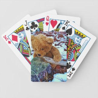 Oso de peluche en la nieve baraja de cartas