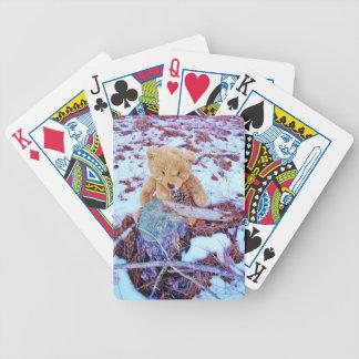 Oso de peluche en la nieve, tinte del azul del dri baraja de cartas