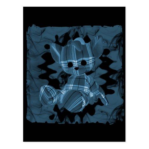 Oso de peluche espiral azul del humo tarjetas postales