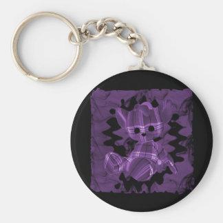 Oso de peluche espiral púrpura del humo llavero personalizado