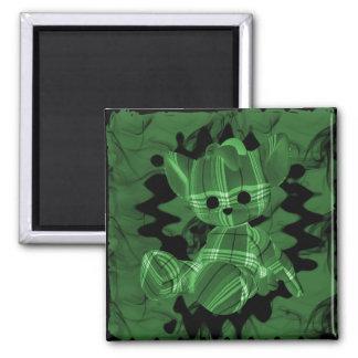 Oso de peluche espiral verde del humo imán