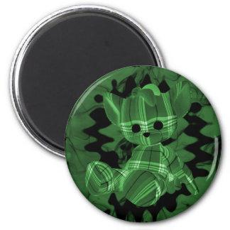 Oso de peluche espiral verde del humo imán de frigorífico