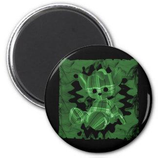 Oso de peluche espiral verde del humo imán de nevera