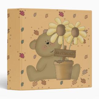 "oso de peluche feliz de la cosecha carpeta 1 1/2"""