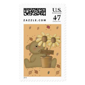 oso de peluche feliz de la cosecha sellos postales