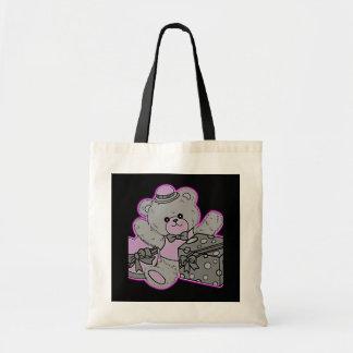 Oso de peluche gris y rosado en negro bolsas