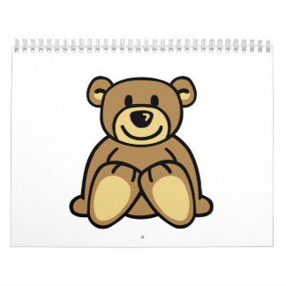 Oso de peluche lindo calendario de pared