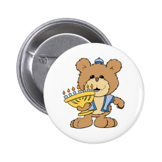 oso de peluche lindo de Chanukah Jánuca Menorah Pin Redondo 5 Cm