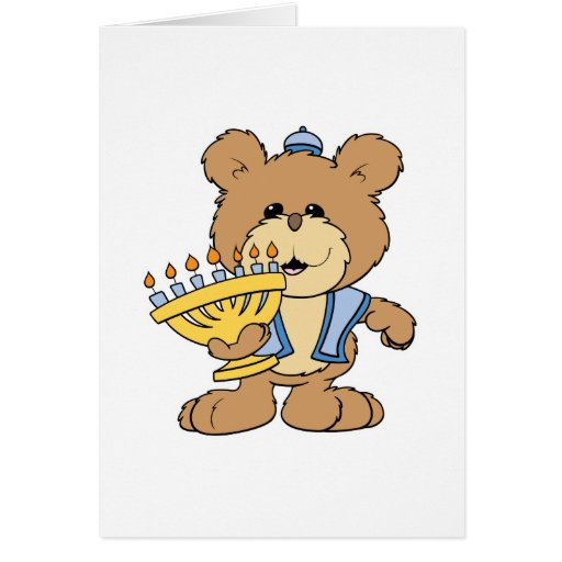oso de peluche lindo de Chanukah Jánuca Menorah Tarjeta