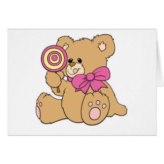 Oso de peluche lindo del bebé con el Lollipop Tarjeta De Felicitación
