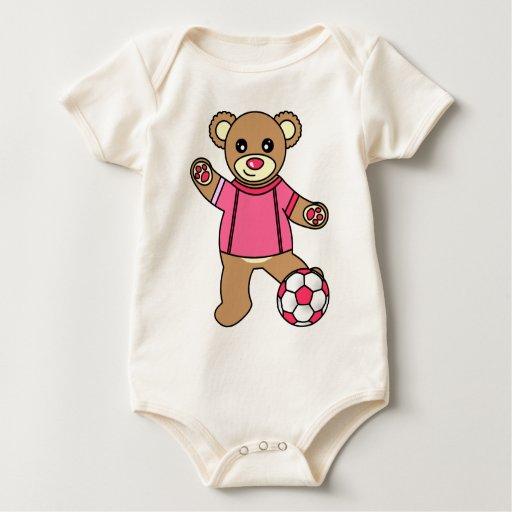 Oso de peluche lindo del chica del fútbol - rosa body para bebé