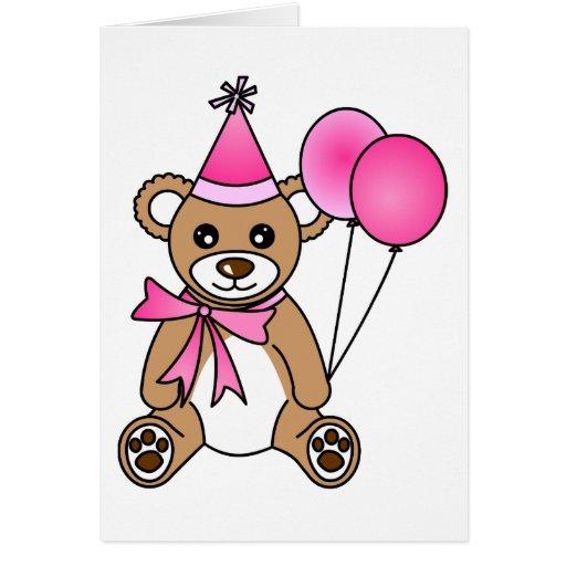 Oso de peluche lindo del cumpleaños - rosa tarjeta de felicitación