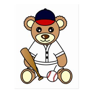 Oso de peluche lindo del muchacho del béisbol postal