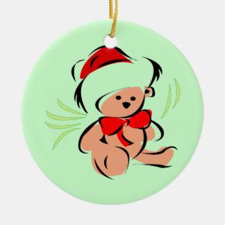 Oso de peluche lindo del navidad adorno redondo de cerámica