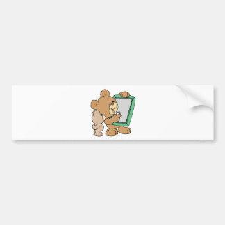 oso de peluche lindo del profesor con la pizarra pegatina para auto