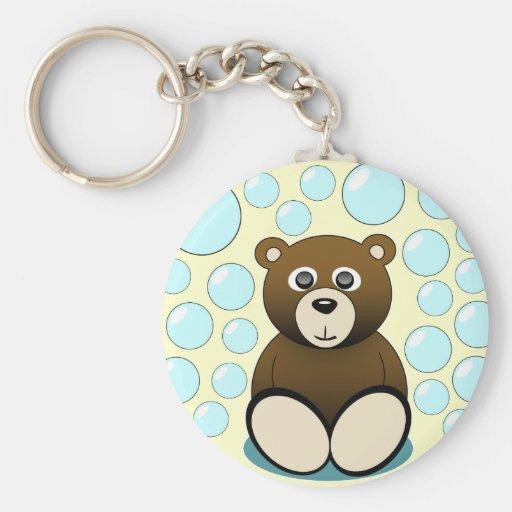 oso de peluche lindo en burbujas llavero redondo tipo pin