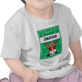 Oso de peluche lindo personalizado del fútbol roj camiseta