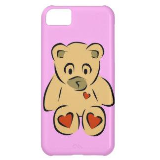 Oso de peluche marrón de los corazones animados li funda para iPhone 5C