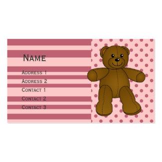 Oso de peluche marrón lindo tarjetas de visita