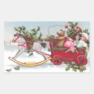 Oso de peluche, muñecas y navidad del vintage del pegatina rectangular