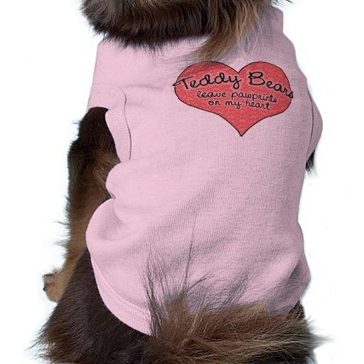 Oso de peluche Pawprints en mi corazón Camisetas De Perrito