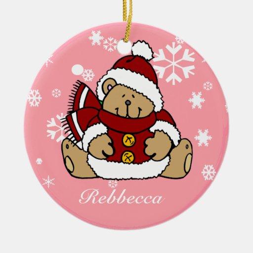 Oso de peluche personalizado lindo de Navidad Ornamentos De Navidad
