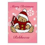 Oso de peluche personalizado lindo de Navidad Felicitacion