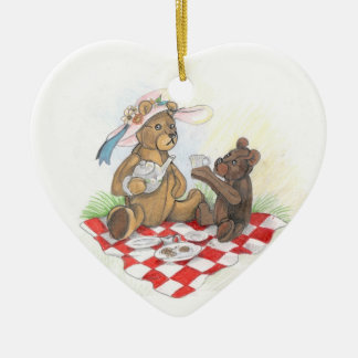 Oso de peluche Picnic~ornament Adorno Navideño De Cerámica En Forma De Corazón