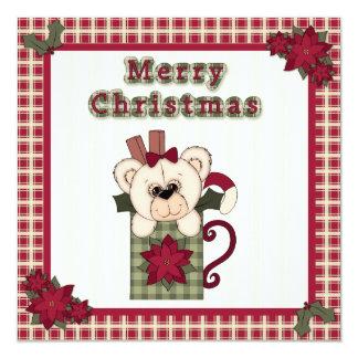 """Oso de peluche plano de la tarjeta de Navidad en Invitación 5.25"""" X 5.25"""""""