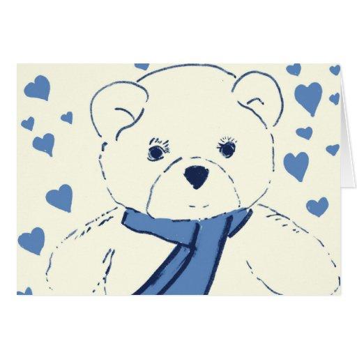 Oso de peluche poner crema y azul tarjeta de felicitación