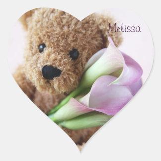 oso de peluche que lleva a cabo a los pegatinas pegatina en forma de corazón