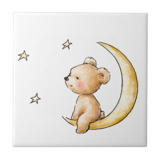 oso de peluche que mira las estrellas azulejo cuadrado pequeño