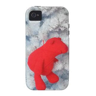 Oso de peluche rojo en árbol de navidad iPhone 4/4S funda